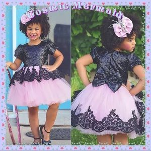 Other - 🆕🌸Sequin & Lace Bow Back Party Dress🌸Pink/Black